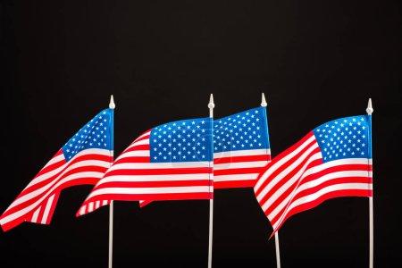 Photo pour Fond de drapeaux américains isolée sur fond noir - image libre de droit