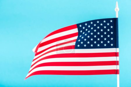 Photo for Background of american flag isolated on blue - Royalty Free Image