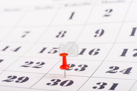 Photo for Selective focus of red pin marking number 30 in calendar - Royalty Free Image