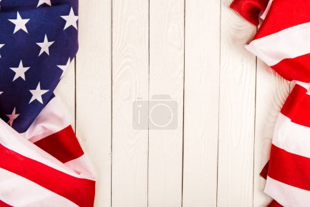 Photo for American flag on wooden background with copy space - Royalty Free Image