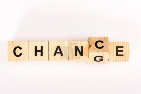 Photo pour Vue du dessus du mot de changement fait avec des blocs de bois isolés sur blanc - image libre de droit