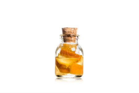 Photo for Studio shot of glass jar with fruit pieces isolated on white - Royalty Free Image