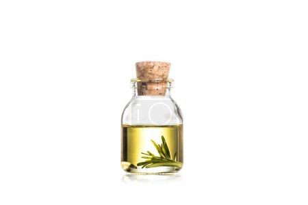 Photo for Studio shot of glass bottle with essential oil and rosemary leaves isolated on white - Royalty Free Image
