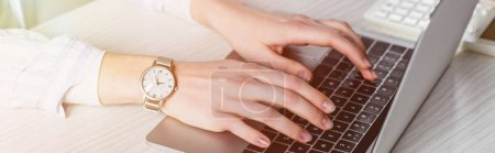 Photo for Partial view of woman typing on laptop keyboard - Royalty Free Image