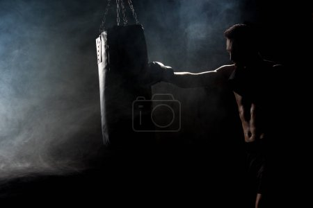 Photo for Silhouette of muscular athlete in boxing gloves kicking boxing bag on black with smoke - Royalty Free Image
