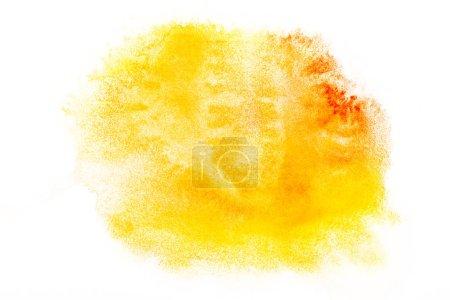 Photo pour Vue de dessus des jaunes et oranges des déversements aquarelles sur papier blanc - image libre de droit