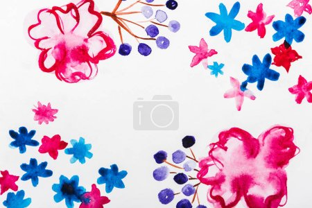 Photo for Top view of pink, blue and purple watercolor flowers with copy space - Royalty Free Image