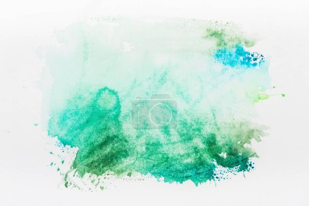 Photo for Top view of turquoise watercolor spill on white background - Royalty Free Image