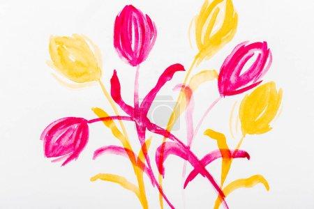 Vista superior de flores de acuarela rosadas y amarillas sobre fondo blanco