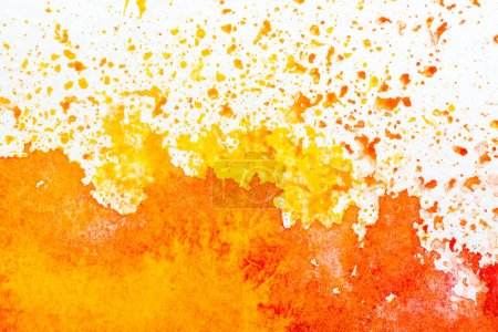 Photo for Top view of yellow and orange watercolor spills on white background - Royalty Free Image