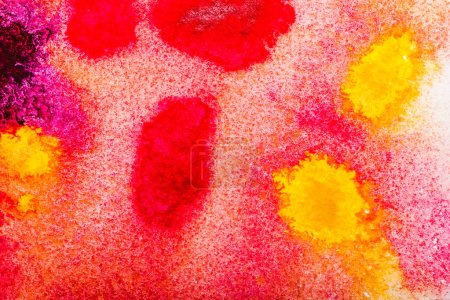Photo for Top view of yellow, pink and red watercolor spills with copy space - Royalty Free Image