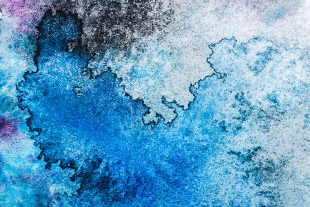 Photo for Top view of blue and grey watercolor spills with copy space - Royalty Free Image