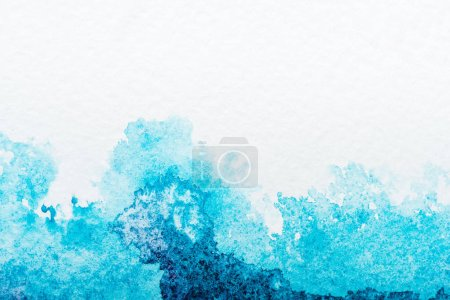 Photo for Top view of blue watercolor spill on white background - Royalty Free Image