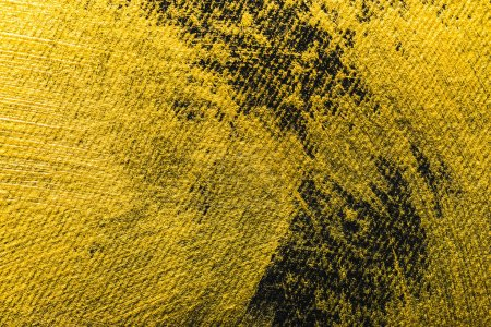 Photo for Top view of yellow watercolor brushstrokes with copy space on black background - Royalty Free Image