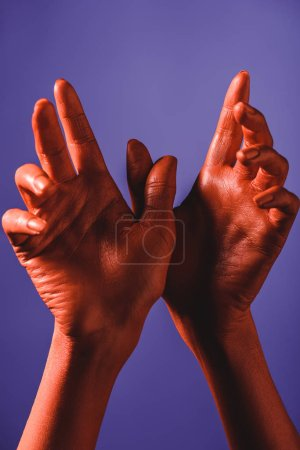Photo for Partial view of woman showing bird sign by coral colored hands on violet background, color of 2019 concept - Royalty Free Image