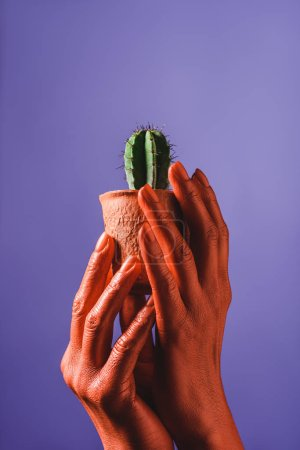 Photo for Partial view of woman with coral colored hands holding coral flower pot with green cactus on violet background, color of 2019 concept - Royalty Free Image