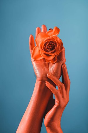 Photo for Partial view of woman with coral colored hands holding coral rose, color of 2019 concept - Royalty Free Image