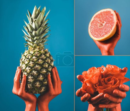 Photo for Collage with fruits and flowers in coral colored female hands on blue separated background, color of 2019 concept - Royalty Free Image