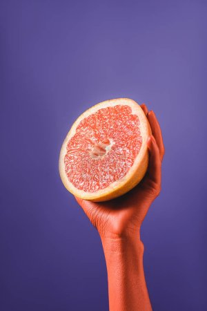 Photo for Cropped view of woman holding cut grapefruit in coral colored hand on blue background on violet background, color of 2019 concept - Royalty Free Image