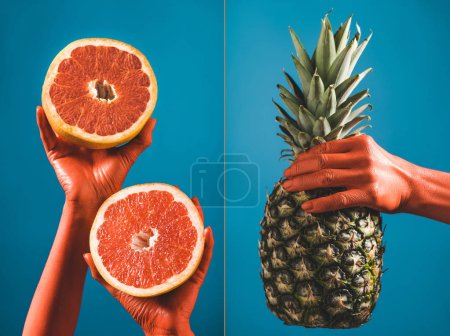 Photo for Collage of fruits in coral colored female hands on blue background, color of 2019 concept - Royalty Free Image