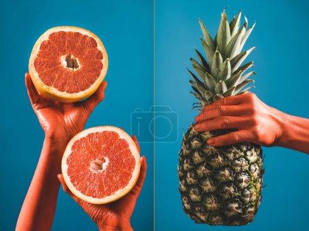 Photo pour Collage des fruits chez une femelle couleur corail mains sur fond bleu, couleur du concept de 2019 - image libre de droit