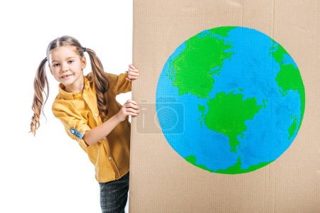 Photo for Cute child holding cardboard placard with globe sign isolated on white, earth day concept - Royalty Free Image