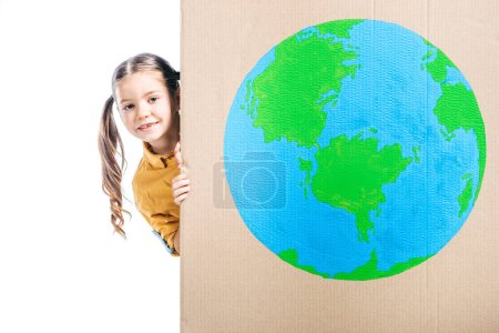 Photo for Cute kid holding cardboard placard with globe sign isolated on white, earth day concept - Royalty Free Image