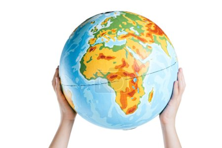 partial view of child holding globe in raised hands isolated on white, earth day concept