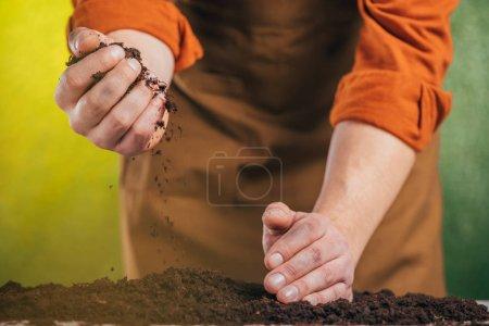Photo pour Mise au point sélective sur les mains au sol sur l'arrière-plan flou, la notion de jour de la terre de plantation - image libre de droit