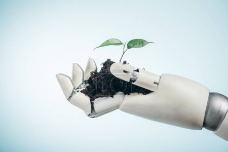 Photo for Robotic hand with young green plant on bicolor background, earth day concept - Royalty Free Image