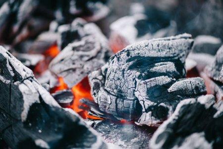 Photo pour Mise au point sélective des charbons ardents chauds en frêne - image libre de droit