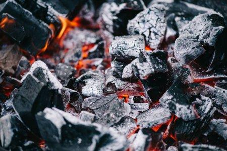 Photo pour Mise au point sélective des charbons ardents chauds en frêne blanc - image libre de droit