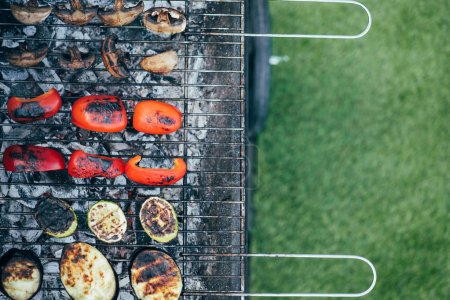 Photo for Top view of vegetables grilling on barbecue grill grade - Royalty Free Image