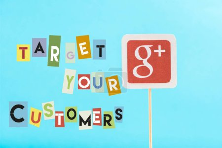 Photo for Card with google plus logo and target your customers lettering isolated on blue - Royalty Free Image