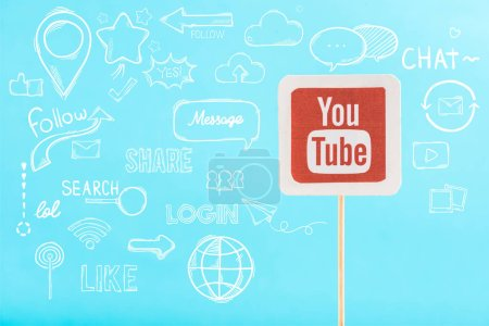 Photo for Card with youtube logo and social media illustration isolated on blue - Royalty Free Image