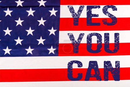 blue yes you can lettering on american flag