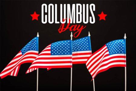 Photo pour Des drapeaux américains avec Columbus restent lettrage isolée sur fond noir - image libre de droit