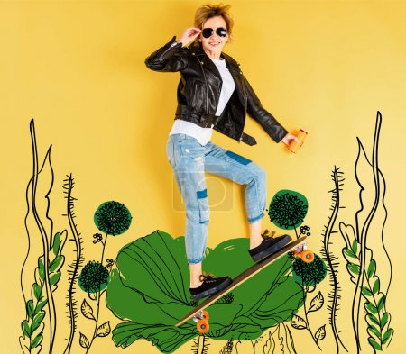Photo pour Top view of woman in leather jacket with longboard on yellow background with floral illustration - image libre de droit