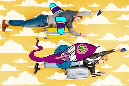 Photo for Happy couple flying as rockets in sky on suitcases with passports and air tickets on yellow background with clouds illustration - Royalty Free Image