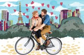 happy elegant couple riding bike together with Paris illustration on background
