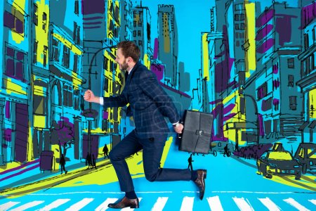 handsome businessman in suit crossing road with briefcase
