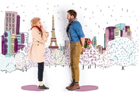 Photo for Surprised woman looking at man with bouquet of flowers behind back on Paris illustration on background - Royalty Free Image