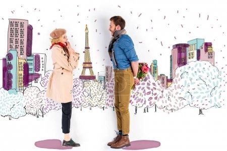 Photo pour Femme surprise regardant l'homme avec un bouquet de fleurs derrière le dos sur l'illustration de Paris sur fond - image libre de droit