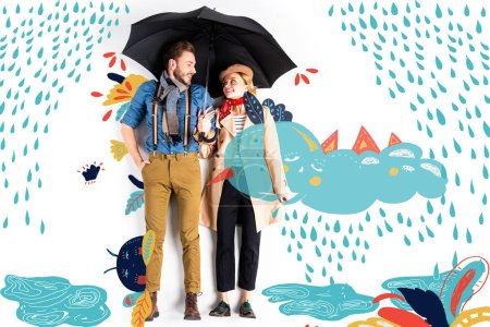 Photo pour Happy elegant couple standing together under umbrella with rain and cloud illustration - image libre de droit