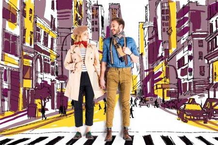 elegant couple holding hands with city street illustration on background