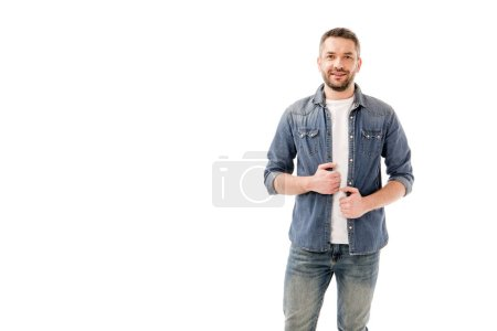 Photo for Front view of smiling bearded man in denim shirt isolated on white - Royalty Free Image