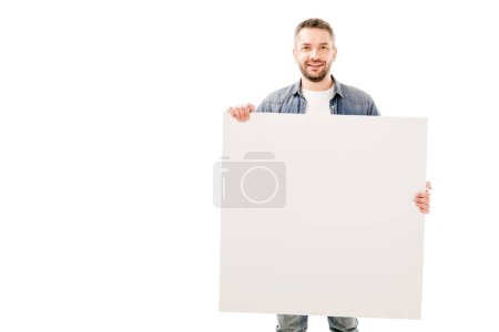 Photo for Front view of smiling bearded man holding blank placard isolated on white - Royalty Free Image