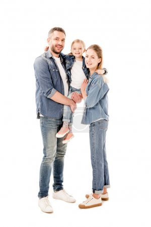 Photo for Full length view of happy parents in jeans holding daughter isolated on white - Royalty Free Image