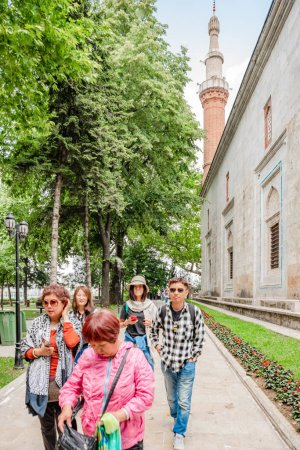 People visit Green Mosque also known as Mosque of Mehmed I is a part of the larger complex in Bursa,Turkey.20 May 201