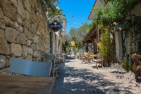 HDR image-Street view of Alacati district of Cesme.Alacati  is a popular destination for traveling and vacation in Izmir,Turkey.26 August 2017